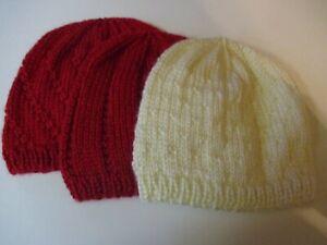 NEWBORN  -6 months   BABY HATS. Set of 3.  Hand knitted. 1 Cream, 2 Red