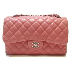 CHANEL Pink Classic Flap Chain Shoulder Handbag Quilted Lambskin Leather