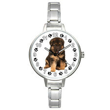 Alsatian German Shepherd Puppy Dog Italian Charm Band Mens Ladies Watch BM475