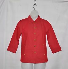 Linea by Louis Dell'Olio Button Front 3/4 Sleeve Denim Jacket Size S Red