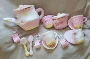 Pottery Barn Vintage 2000's Fabric Tea Set*gently used*white, pink, yellow