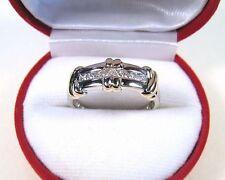 MENS RHODIUM-PLATED TWO-TONE 10k GOLD & .32 CTW DIAMOND ROPE DESIGN RING sz 11