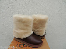UGG PATTEN CHESTNUT WATER-RESISTANT LEATHER SHEEPSKIN CUFF BOOTS, US 7/ 38 ~NEW