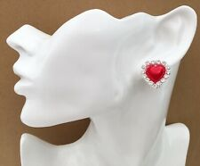 CLIP ON Heart Stud Earrings with Red Faux Pearl and crystals Diamante