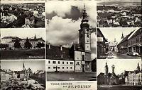 St. Pölten Niederösterreich alte Mehrbildkarte ~1950/60 Dom Krankenhaus Totale