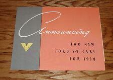 1938 Ford Car V-8 Sales Brochure 38 Standard De Luxe