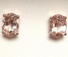 14K 14 ct Rose Gold Genuine Natural Peach Morganite Stud Earrings Oval 7 x 5 mm