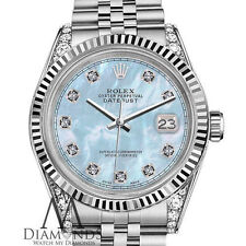 Women's Rolex Watch 31mm Datejust Baby Blue MOP Mother Of Pearl Diamond Dial