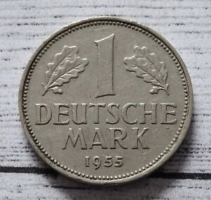 Germany 1 Mark Coin~1955 (F) Federal Eagle~KM#110~CuNi 5.5g~VF~#547