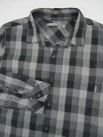 Mens XL Ice Breaker Merino gray plaid long sleeve button shirt *Flaw