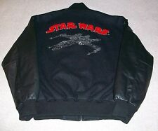 Vtg STAR WARS Millennium Collection Leather Wool Bomber Jacket X-Wing Fighter  M
