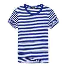 Fashion Casual Women Man Tops Short Sleeve Striped Loose Short T Shirt Blouse