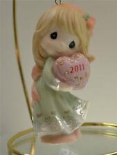 Precious Moments Ornament Dated 2011 Girl w/ Heart 111002 Bx FreeusaShp