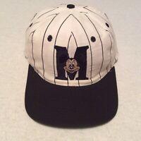 Vintage Mickey Mouse Disney Black PinStripe SnapBack Hat Baseball Cap