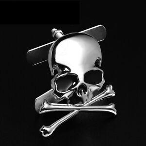 Metal Skull Skeleton Crossbones Car Grill Grille Metal Badge Sticker Emblem