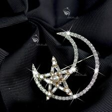 18k yellow white gold made with swarovski crystal moon star brooch rotatable