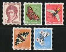 Switzerland 1955 MNH Mi 618-622 Sc B247-B251 Juventute.Butterflies.Insects.