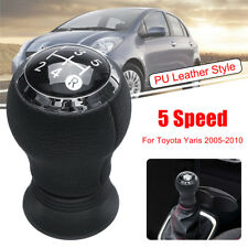 5 Speed Gear Shift Shifter Knob PU Leather For Toyota Yaris Manual Transmission