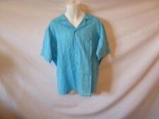 Men's EATON Blue Striped Short Sleeve Button Down Dress Shirt - Sz XL