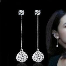 925 Sterling Silver 2 in 1 Crystal CZ Stud Ball Long Dangle Drop Earrings UK 393