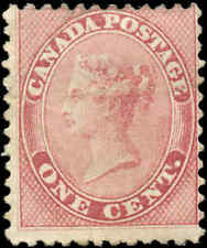 Mint H Canada 1859 1c VG-F Scott #14 Queen Victoria First Cents Issue Stamp