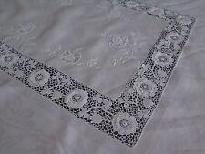 Vtg Antique Irish Crochet Linen Damask Rose Custom Tablecloth Rare Exceptional
