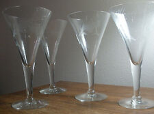 "VTG 4 Thistle Pattern Etched Wine Glass Clear Crystal Bugle 10 oz Bowl 7.5"" Tall"