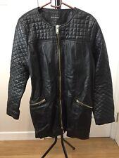 River Island 100% Real Leather Black Coat UK16
