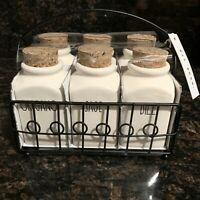 New Rae Dunn Six Spice Herb Jars Spice Caddy LL Artisan Collection By Magenta