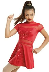 BRAND NEW CHILD DANCE (SC) SIZE 4-5 JAZZ TAP red sequin costume