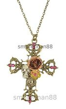 Skull Celtic Cross Crystal Rose Gothic Halloween Costume Jewellery Necklace