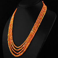 305.50 CTS NATURAL 4 STRAND RICH ORANGE CARNELIAN ROUND FACETED BEADS NECKLACE