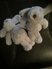 """2 Next small 7""""  Grey Gray Puppy Dog Baby Soft Toy Comforter chien hund a2"""