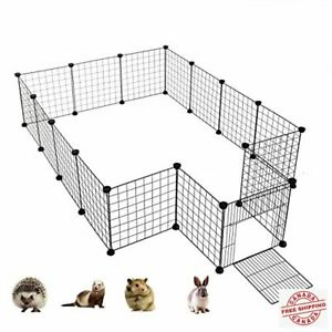Kilodor 16pcs Metal Yard Fence with Door,DIY Pet Playpen Small Animal Cage for G