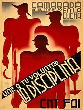 ADVERT WAR SPANISH CIVIL WORKER SOLDIER SOCIALISM ART POSTER PRINT LV7101