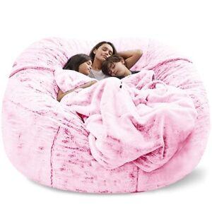 Giant Bean Bag Sofa cover Big Comfy Fluffy Fur Beanbag Bed Slipcover Lazy Sofa R