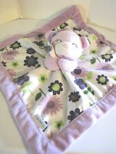 Carters Baby Girl Lovey/Blankie Security Crib Toy Purple With Flowers Blanket
