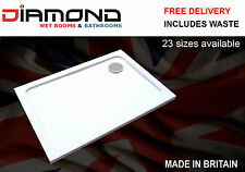 Slimline 40mm 1000x800 DIAMOND Stone Shower Enclosure Tray Rectangle Free Waste