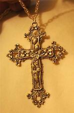 Striking Goldtone Dogwood Flowers Fleur de Lis Pectoral Cross Pendant Necklace