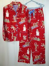 Nick & Nora Sock Monkey Winter Sports Flannel PJ Pajamas Set Pants Top S Red