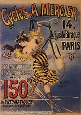 """WOMAN BUTTERFLY BICYCLE CYCLES MERGIER PARIS FRENCH VINTAGE POSTER REPRO 12""""X16"""""""
