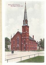 M E Church Michigan City In Unused Methodist Episcopal Postcard 693