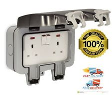 Waterproof Outdoor Double Pole Switched Socket Box External Electrical Safe Plug