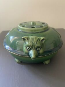 Antique Vintage Mosquito Coil Burner Aroma Essence Pot With Fox Head