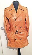 Vintage Leather Trench Coat 10 M Jacket Tan Brown Trenchcoat Parka Blogger biker