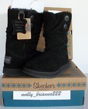 SKECHERS AUSTRALIA Women BLACK Suede Button Mid Calf Faux Fur Boot Shoe 10 M $80