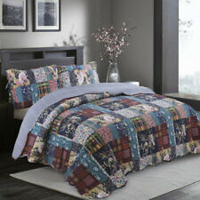 Cotton Floral Patchwork Quilt Bedspread Coverlet Throw Rug Queen/King Pillowcase