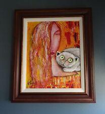 Nadia Volna - Framed Original Acrylic Painting on Canvas Hand Signed with COA.