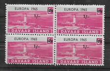 L3666 DAVAAR ISLAND EUROPA 1965 BLOCK OF 4   1/-