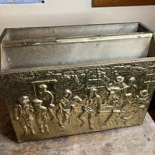 Vintage Brass Embossed Magazine Newspaper Caddy Rack Holder